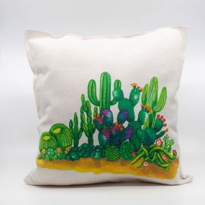 Funda cojín de cactus paisaje mejicano entrecactus